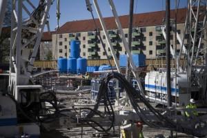 Wasseraufbereitungsanlage am Startschacht einer Tunnelbohrmaschine in Kopenhagen