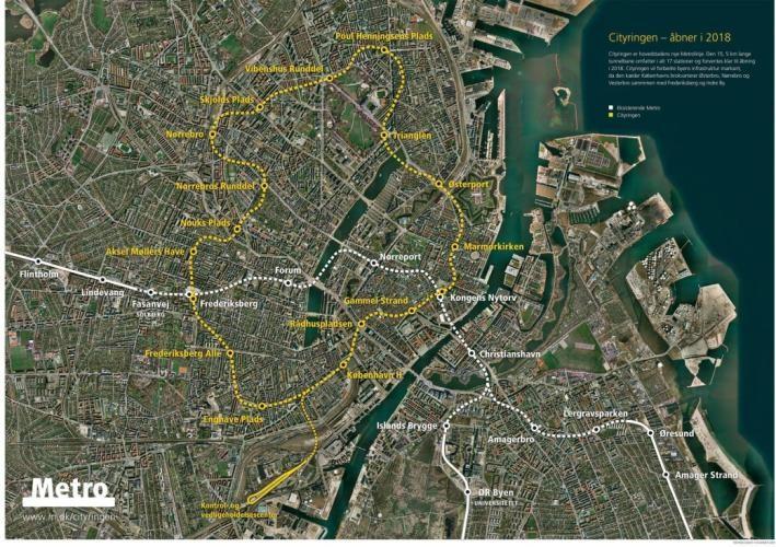 """Die neue Metro-Strecke """"Cityringen"""" für Kopenhagen (gelbe Linie) vergrößert das vorhandene Netz um rund zwei Drittel (alle Abb.: Hölscher)"""