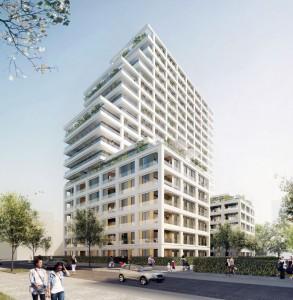 Im Frankfurter Europaviertel entsteht ab 2016 das Wohnhochhaus CASCADA. Das Gebäude wird rund 60 Meter hoch und auf 21 Etagen 175 Eigentumswohnungen beherbergen. Quelle: 6B47