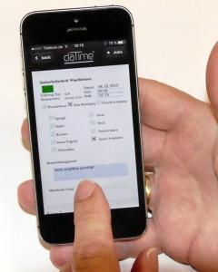 Mit Smartphone oder Tablet können hauseigene Liefer- und Rücknahmeschein ausgefüllt und unterschrieben werden. Auch wenn das Papierformat DIN A4 ist.