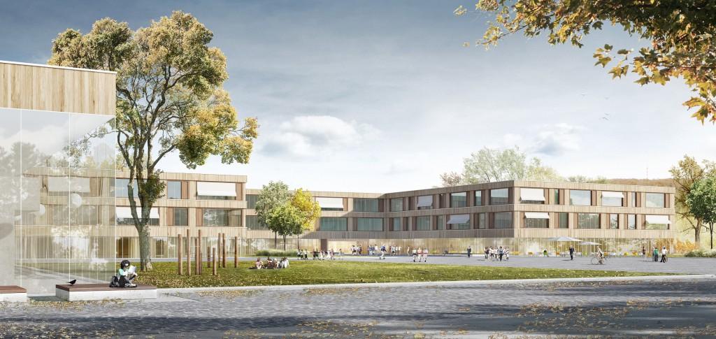 So soll die Schule aussehen: Statt einer Sanierung des Gebäudebestands wird die Gesamtschule Treuchtlingen jetzt in drei Bauabschnitten neu gebaut. Bild: Jonas Bloch/Felix+Jonas Architekten