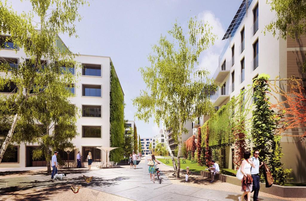"""Das """"Modellprojekt Möckernkiez"""" ist eine gemeinschaftliche und Generationen verbindende Wohnanlage, die ökologisch, nachhaltig, barrierefrei und sozial sein wird. Bildnachweis: Visualisierung © loomilux"""